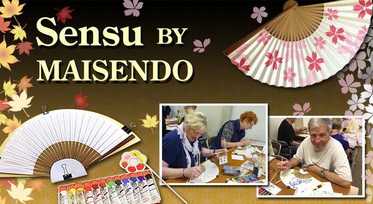 Painting on SENSU (Folding fan) In Kyoto